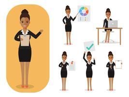 Set van zakenvrouw op het werk. vector