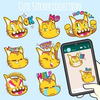 schattige katten emoji sticker collecties