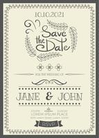 Vintage bruiloft uitnodiging vector