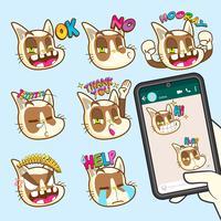 schattige katten emoji sticker collecties