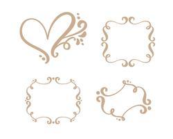 Vector uitstekende reeks grensframes die met retro ornament in het antieke decoratieve ontwerp van de rococo'sgravure graveren