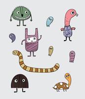 Deze vele monsters varieerden in grijze achtergronden vector