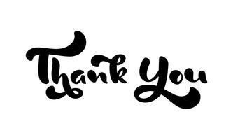 Dank u hand getrokken kalligrafische tekst van letters. Met de hand geschreven vectorillustratie voor groetkaart, druk op mok, markering