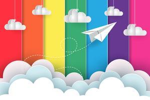 Papieren vliegtuig concept