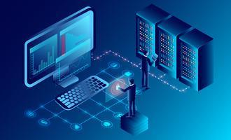 privacybescherming en software voor ontwikkeling vector