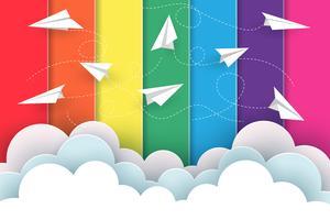 Papier vliegtuigen concept