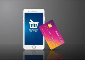 Mobiel betalingsconcept, Smartphone met verwerking van mobiele betalingen van creditcard. Vector illustratie