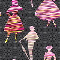 Mode vrouwen achtergrond. Dame retro jurk naadloze patroon.
