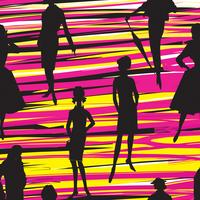 Mode vrouwen achtergrond. Dame retro jurk naadloze patroon. vector