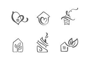 Set van eenvoudige kalligrafie huizen hand getrokken logo. Echte vector iconen. Estate-architectuur Constructie voor ontwerp. Kunst thuis vintage element