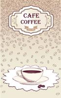 Koffie warme drank. Cafe kaart achtergrond. Koffiebonen retro patroon.