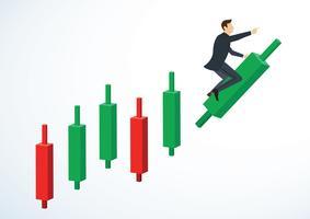 zakenman rijden op Kandelaar grafiek achtergrond vector