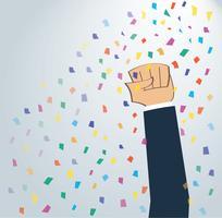 hand omhoog gebracht naar succesvol