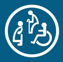 badkamer voor personen met een handicap. wc-teken met een handicap