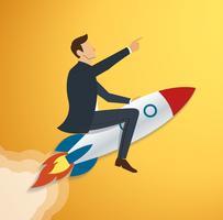 Zakenman die met een Raket aan Succesvolle vector vliegen