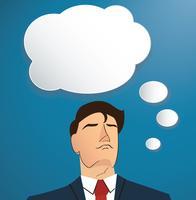 Portret van zakenman die met de doosachtergrond van het wolkenpraatje denken