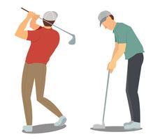tekening Man swingende golf cartoon vector