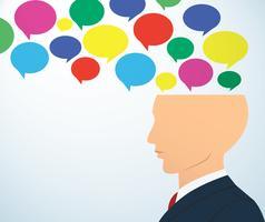 zakenman hoofd met kleurrijke chat box vector