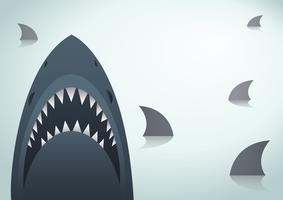 Haai vectorillustratie en ruimteachtergrond