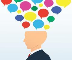 zakenman hoofd met kleur chat box vector