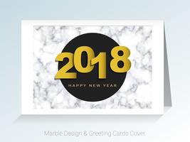 2018 Gelukkig Nieuwjaar concept, symbolen van het begin en de viering, marmer wenskaarten vector achtergrond.