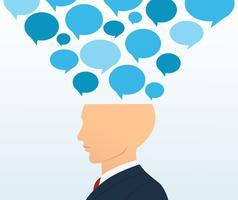 zakenman hoofd met chatbox vector