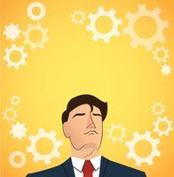 Portret van zakenman met versnellingen pictogramachtergrond
