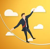 concept van zakenman of man in crisis lopen in evenwicht op touw over hemelachtergrond