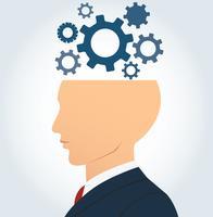 kant zakenman hoofd met versnellingen vector achtergrond