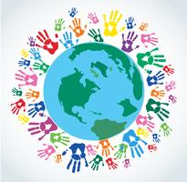 Kleurrijke handafdrukken rond de aarde