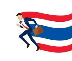Zakenman die de vlag van achtergrond Thailand vectorillustratie EPS10 in werking stellen vector