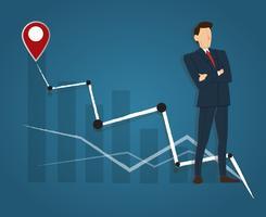 Succesvolle zakenman die zich met gekruiste wapens en hoge grafiekachtergrond, bedrijfsconcept bevinden vector