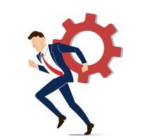zakenman met versnelling tot succes concept vector