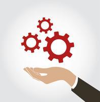 hand met gear pictogram vector