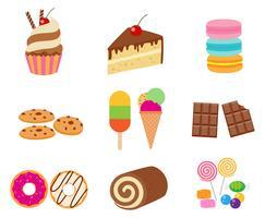 Inzameling van zoete die dessert vectorreeks op witte achtergrond wordt geïsoleerd