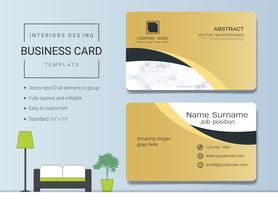 Sjabloon voor visitekaartjes voor interieurontwerper. vector