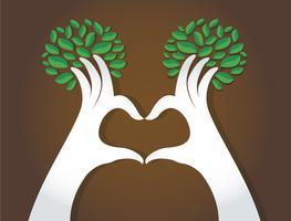 handen hartvorm met bladeren, natuurliefhebbers, Wereldmilieudag vector