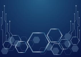 abstracte zeshoek en technologie lijn achtergrond vector