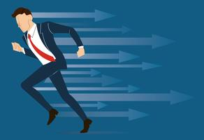 lopende zakenman, bereiken bedrijfsconcept vector