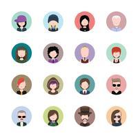 Mannelijke avatar collectie in cirkels vector