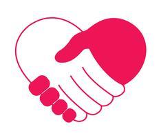 hand in hand in hartvorm vector