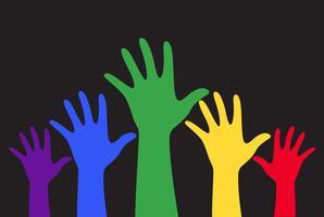 handen omhoog kleurrijke vector