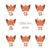 Verzameling van schattige kleine vos poses vector