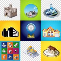 Set van afbeeldingen bouwen vector