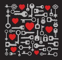 Hart en sleutels patroon vector