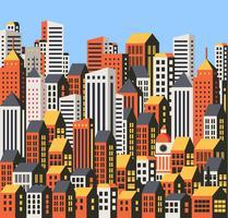 Wolkenkrabbers en huizen vector