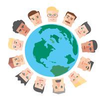 mensen cartoon rond de wereld achtergrond vector