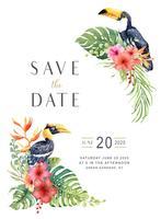 Waterverf tropische Grote Hornbill en Toekan in Hibiscusboeket.