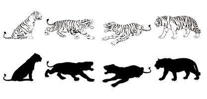 tijgersilhouet vector