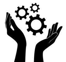 hand met vistuig, ingenieur symbool